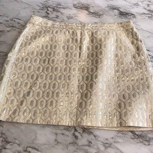 Banana Republic Cream and Silver Mini Skirt Sz 14